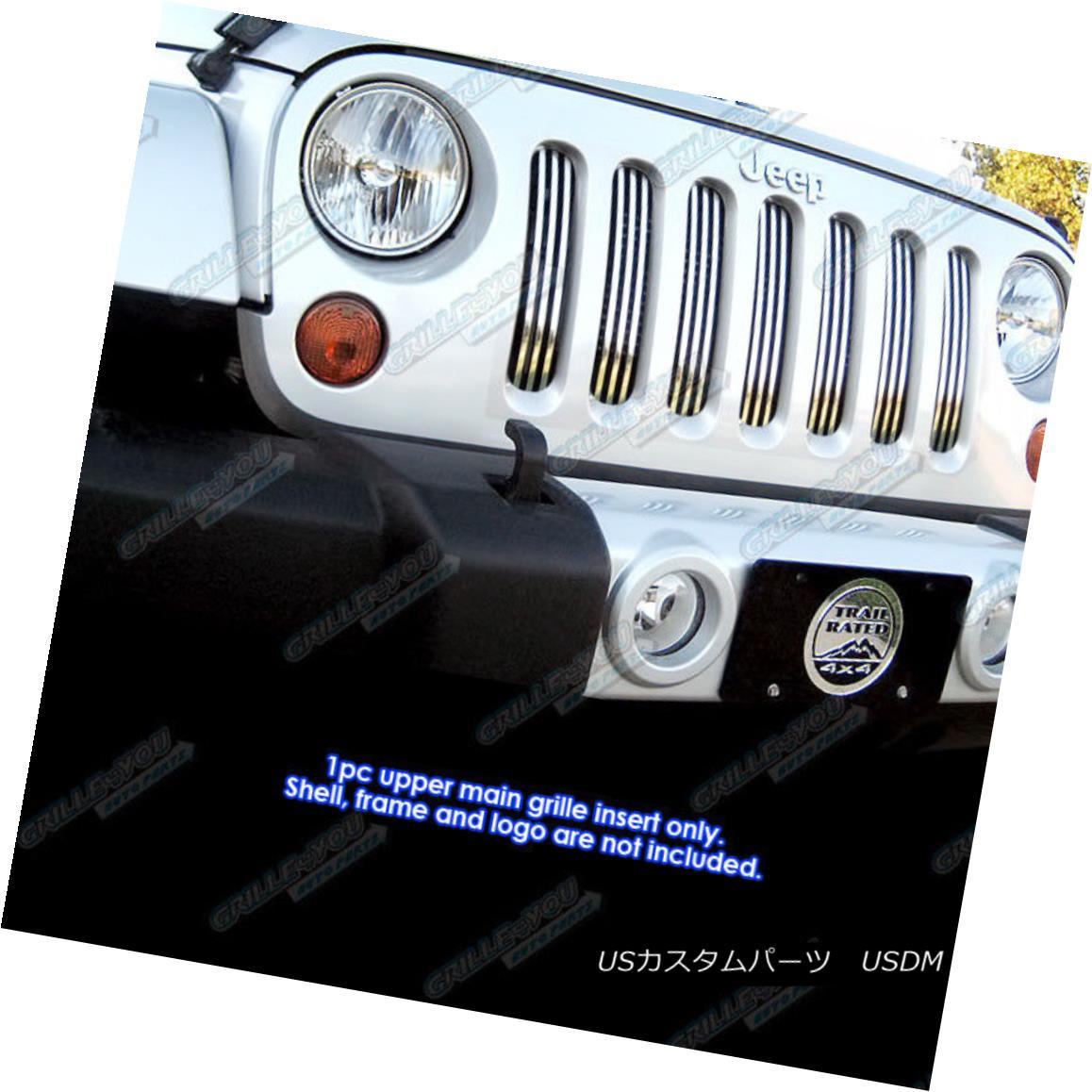 グリル Fits 2007-2017 Jeep Wrangler Vertical Perimeter CNC Cut Grille nsert フィット2007-2017ジープラングラー垂直周縁CNCカットグリルインサート