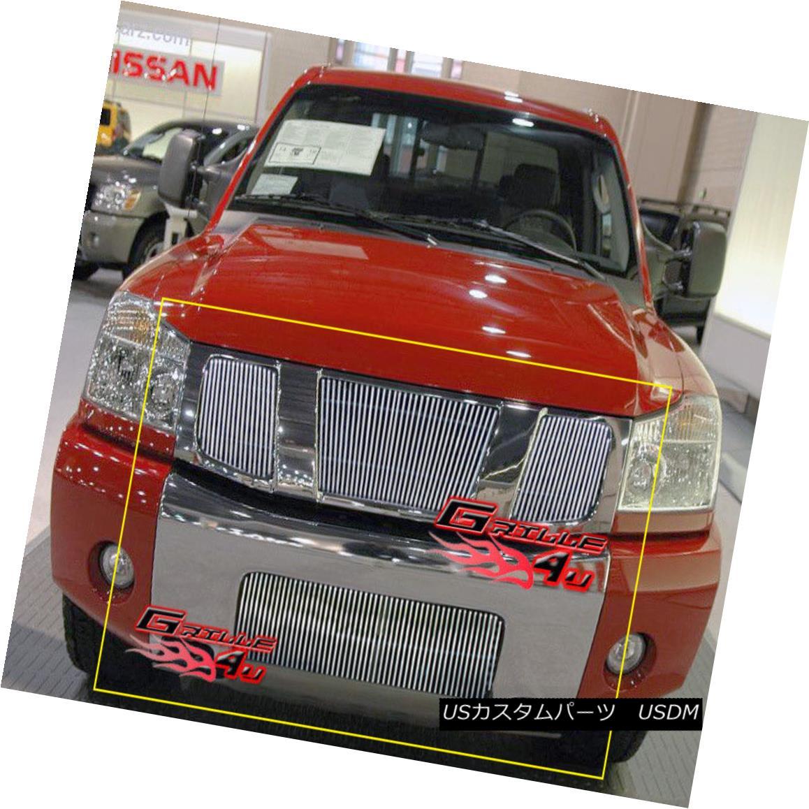 グリル Fits 04-07 Nissan Titan/Armada Vertical Billet Grille Combo フィット04-07 Nissan Titan / Armada縦型ビレットグリルコンボ