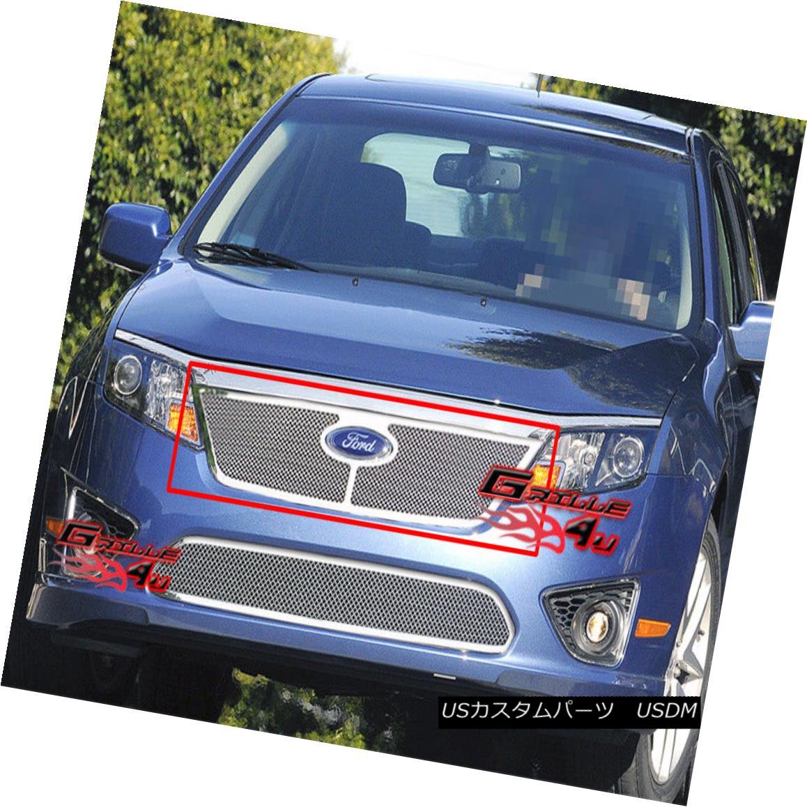 グリル Fits 10-11 2011 Ford Fusion Stainless Steel Mesh Grille フィット10-11 2011フォードフュージョンステンレスメッシュグリル