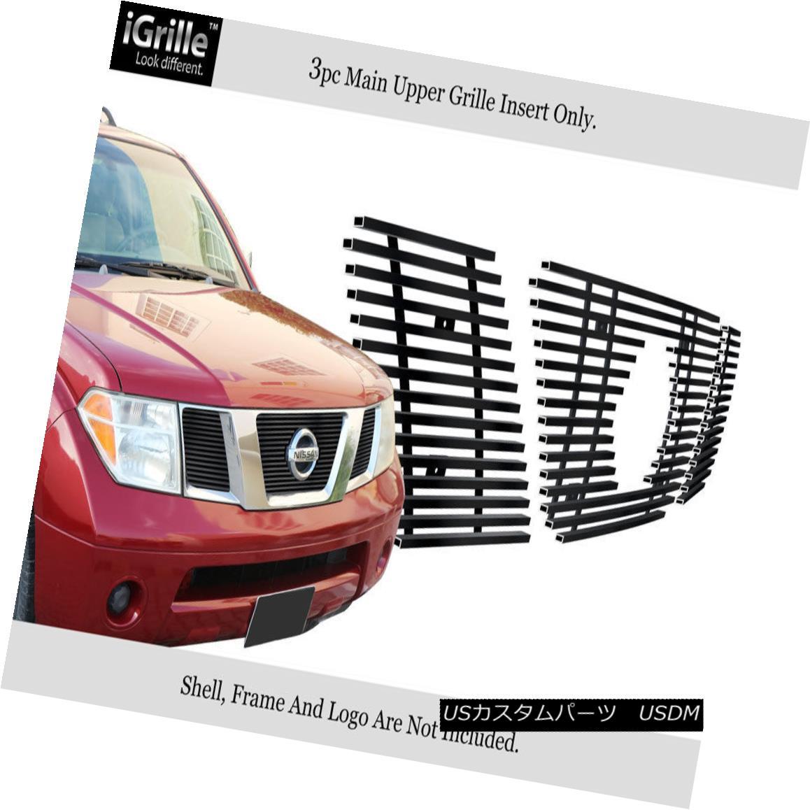 グリル For 2005-2007 Nissan Pathfinder/Frontier Stainless Steel Black Billet Grille 2005-2007 Nissan Pathfinder / Nbrステンレススチールブラックビレットグリル用