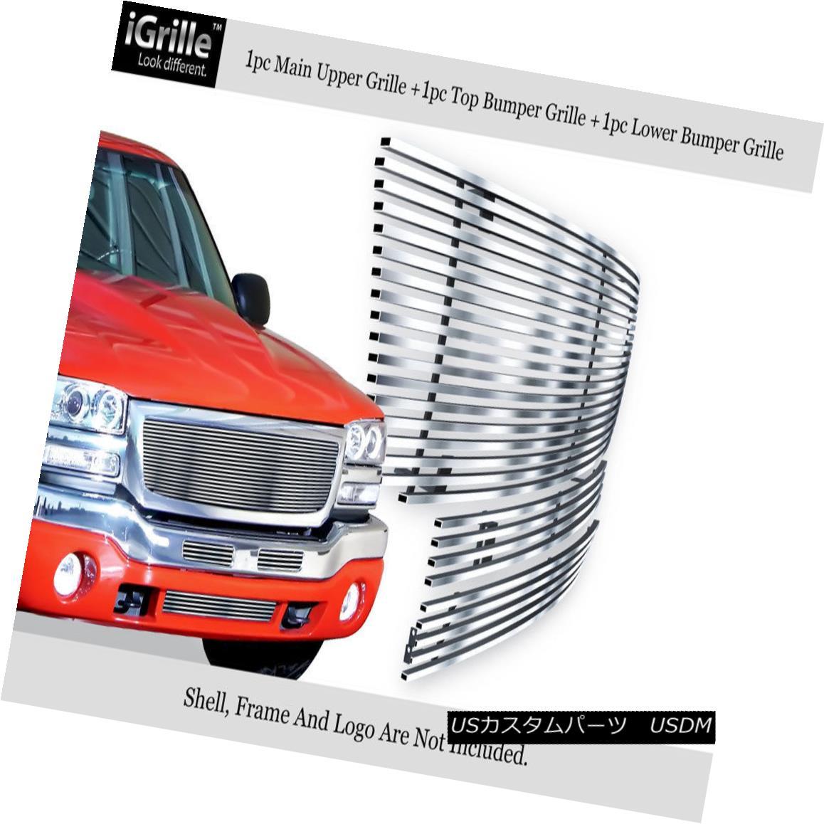 グリル 304 Stainless Steel Billet Grille Combo Fits 03-06 GMC Sierra 1500/2500HD/3500 304ステンレス鋼ビレットグリルコンボフィット03-06 GMC Sierra 1500 / 2500HD / 35 00