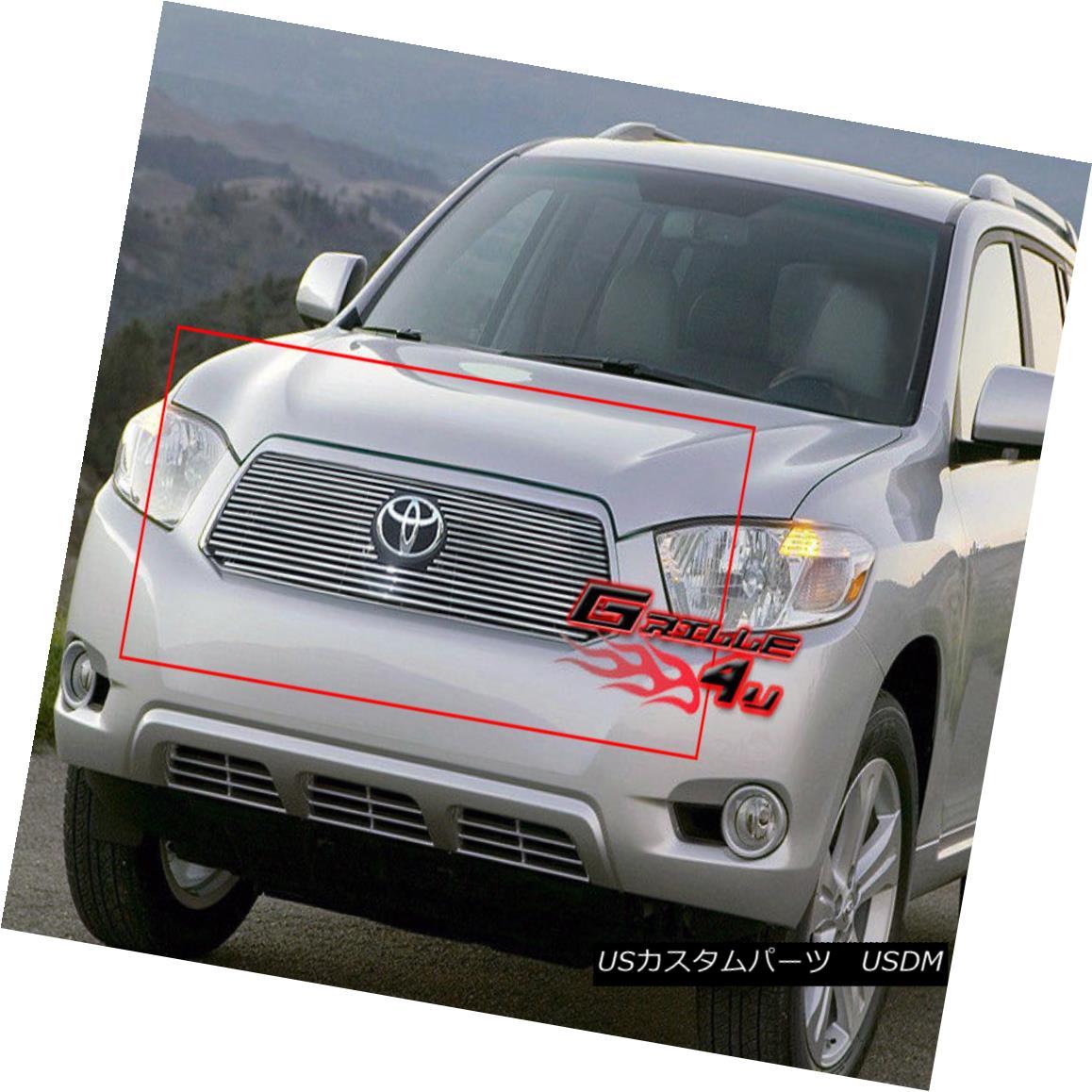 グリル Fits 08-10 Toyota Highlander Hybrid Main Upper Billet Grille Insert フィット08-10トヨタハイランダーハイブリッドメインアッパービレットグリルインサート