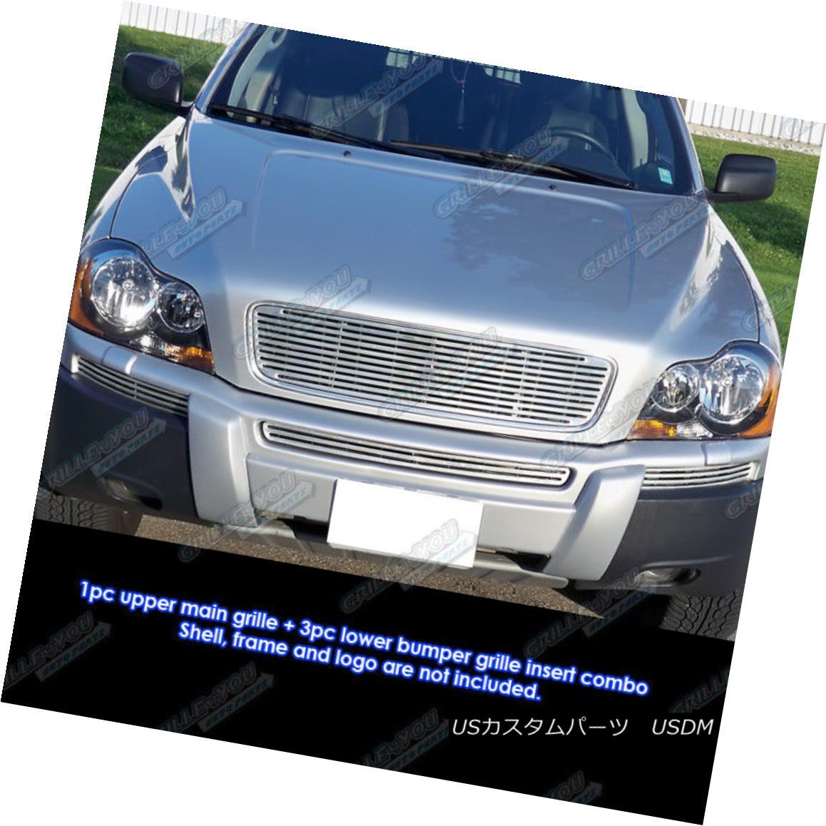 グリル Fits 2005-2006 Volvo XC90 Perimeter Billet Grille Combo 2005?2006年のボルボXC90ペリメータービレットグリルコンボに適合