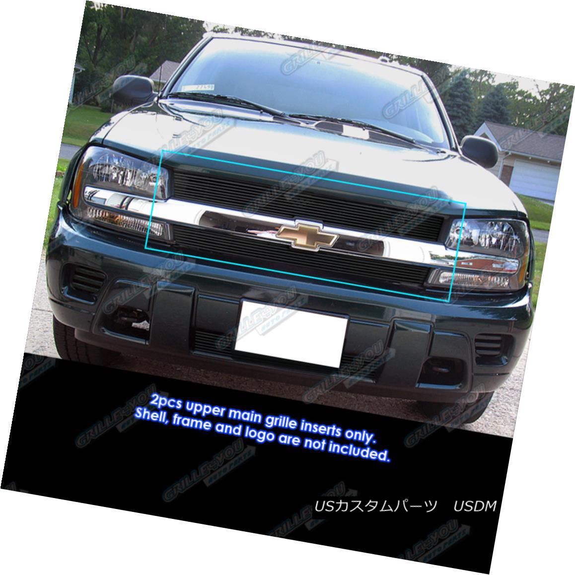 グリル Fits 2002-2005 Chevy Trailblazer LT/LS/SS Black Billet Grille フィット2002年?2005年シボレートレイルブレイザーLT / LS / SSブラックビレットグリル