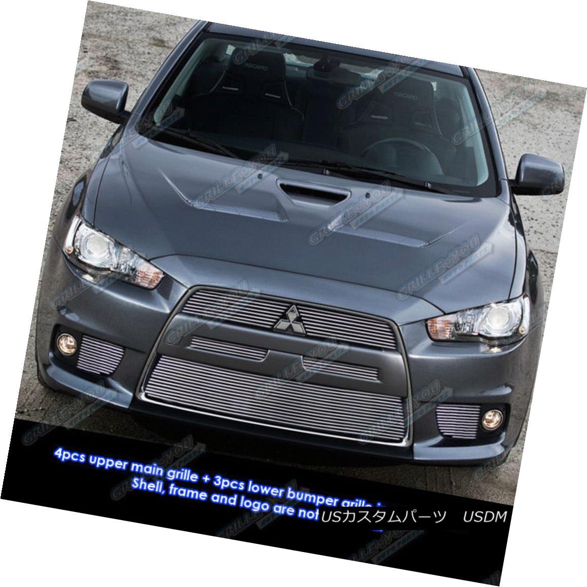 グリル Custom Fits 10-11 Mitsubishi Lancer Evolution Billet Grill Combo カスタムフィット10-11三菱ランサーエボリューションビレットグリルコンボ