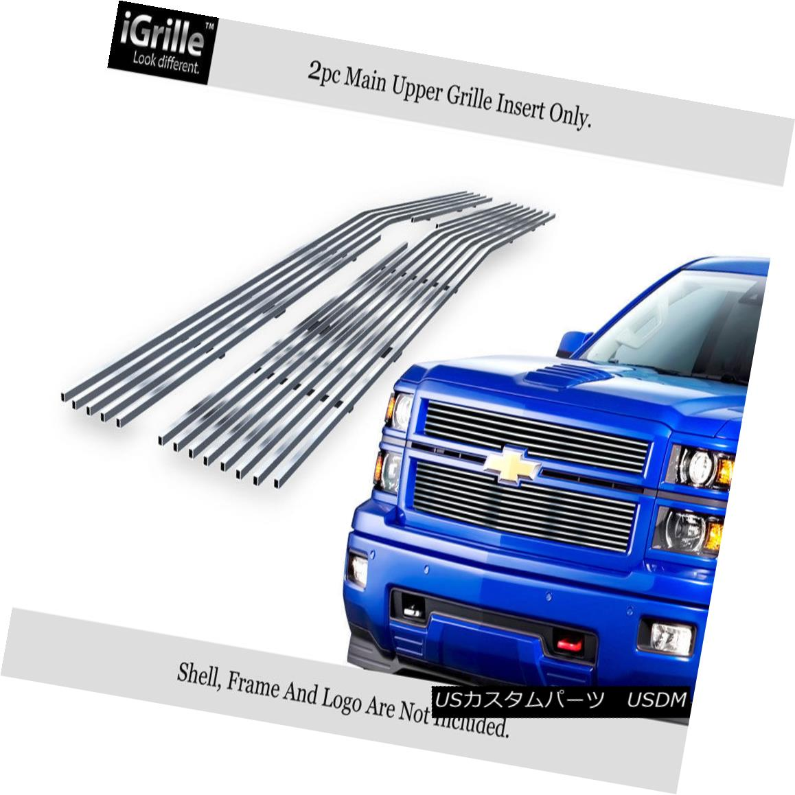 グリル Fits 2014-2015 Chevy Silverado 1500 Reg Model Stainless Steel Billet Grille 2014-2015 Chevy Silverado 1500 Regモデルステンレススチールビレットグリルに適合