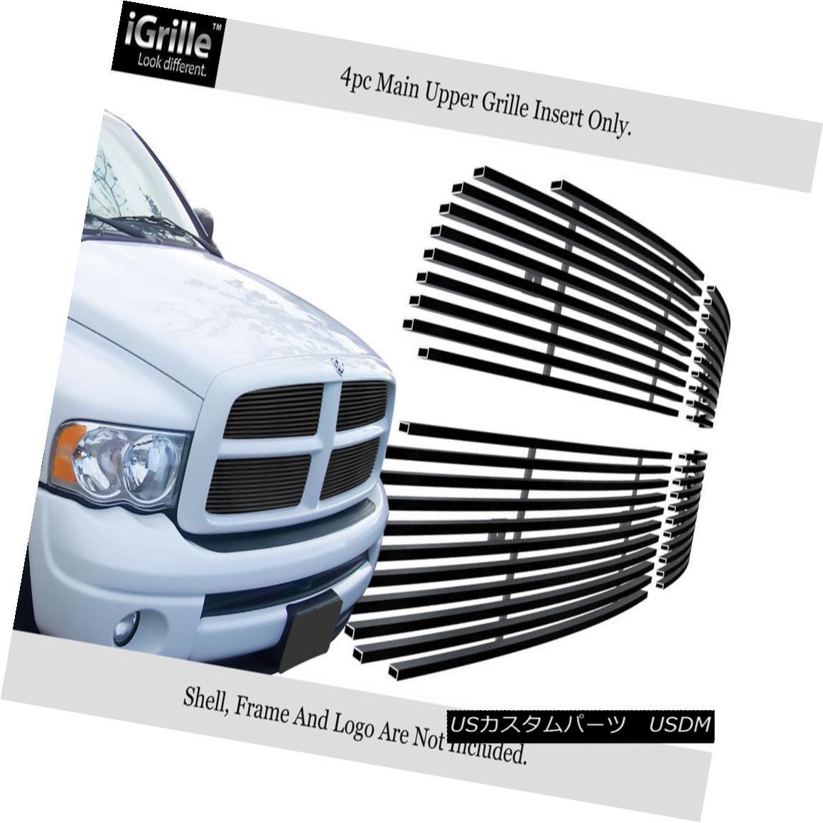 グリル For 2002-2005 Dodge Ram Black Stainless Steel Billet Grille Grill Insert 2002-2005ダッジラムブラックステンレス鋼ビレットグリルグリルインサート用