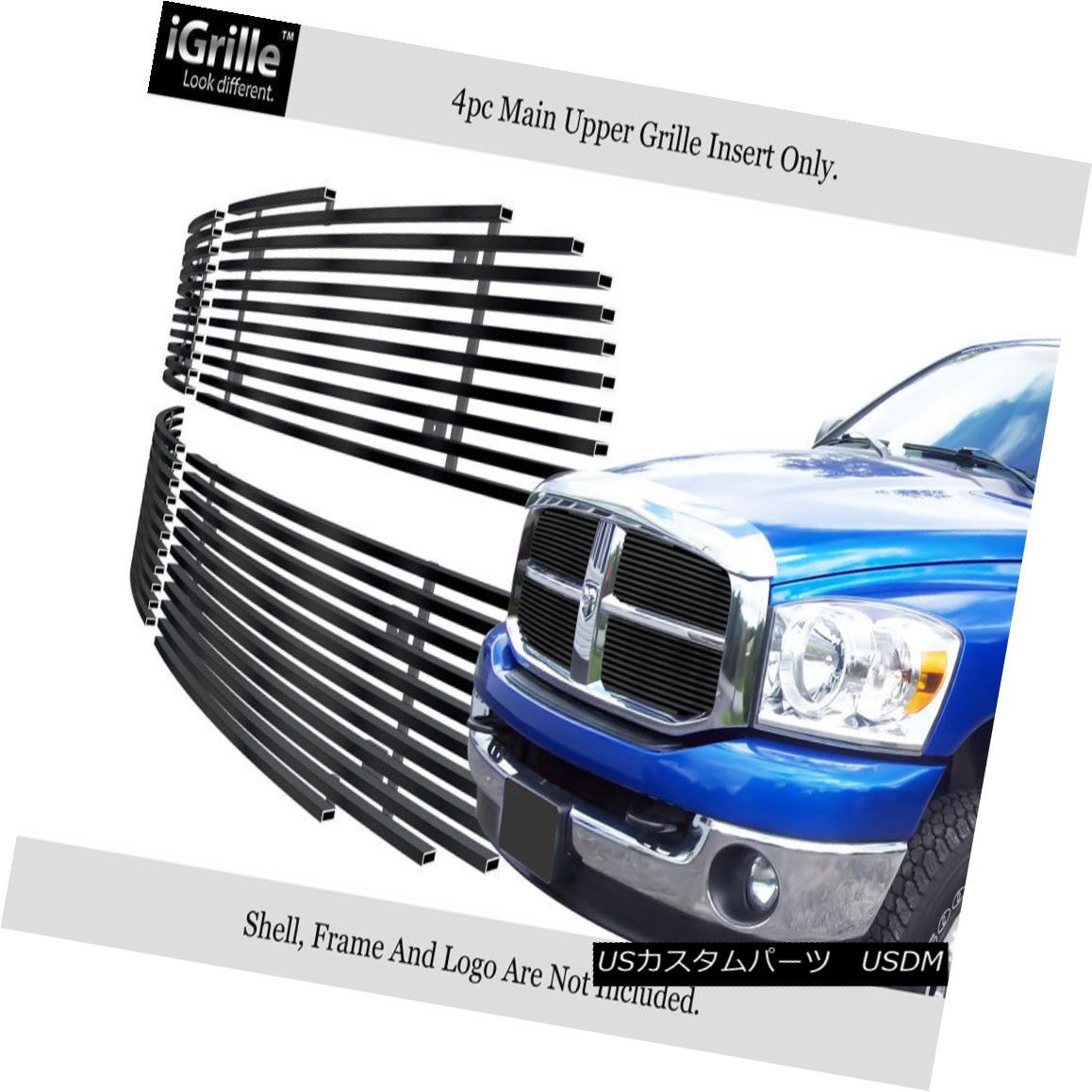 グリル For 2006-2008 Dodge Ram Black Stainless Steel Billet Grille Grill Insert 2006-2008ダッジラムブラックステンレス鋼ビレットグリルグリルインサート用