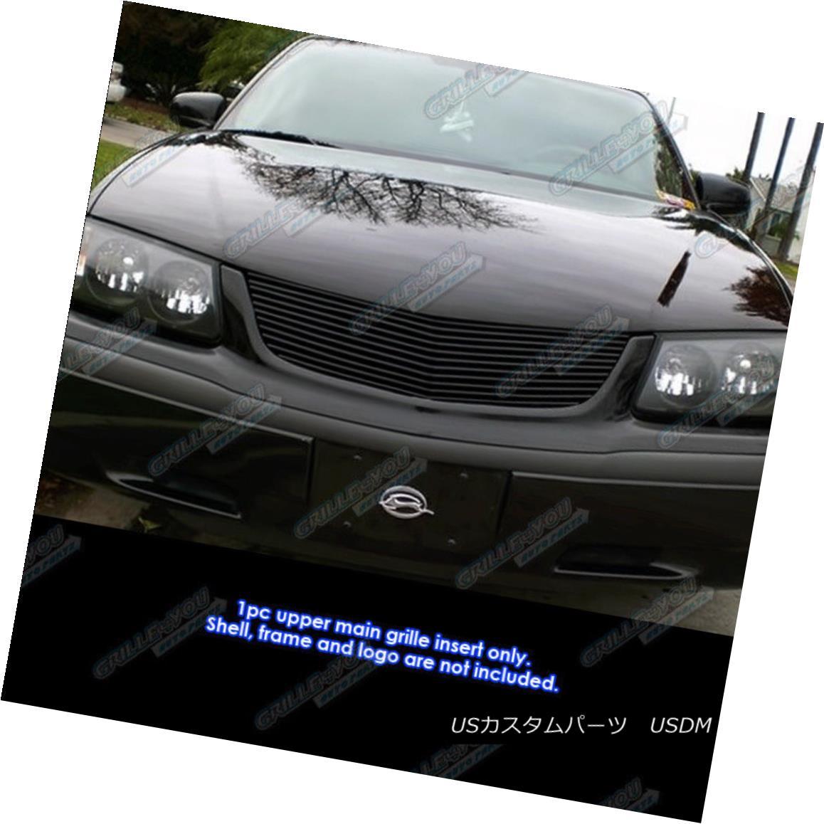グリル Fits 00-05 Chevy Impala Black Main Upper Billet Grille Grill Insert フィット00 - 05シボレーインパラブラックメインアッパービレットグリルグリルインサート