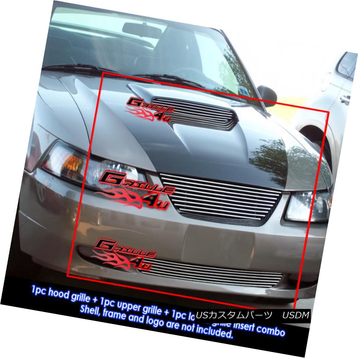 グリル Fits 1999-2004 Ford Mustang GT V8 Billet Grille Grill Combo Insert フィット1999-2004フォードマスタングGT V8ビレットグリルグリルコンボインサート