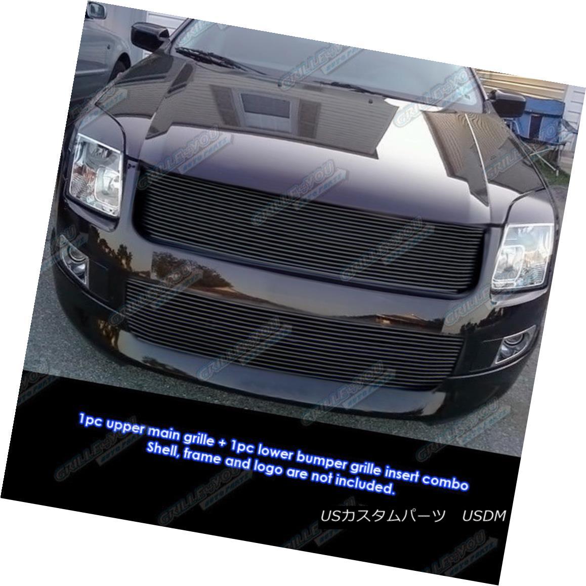 グリル Fits 06-09 Ford Fusion Black Billet Grille Grill Combo Insert フィット06-09フォードフュージョンブラックビレットグリルグリルコンボインサート