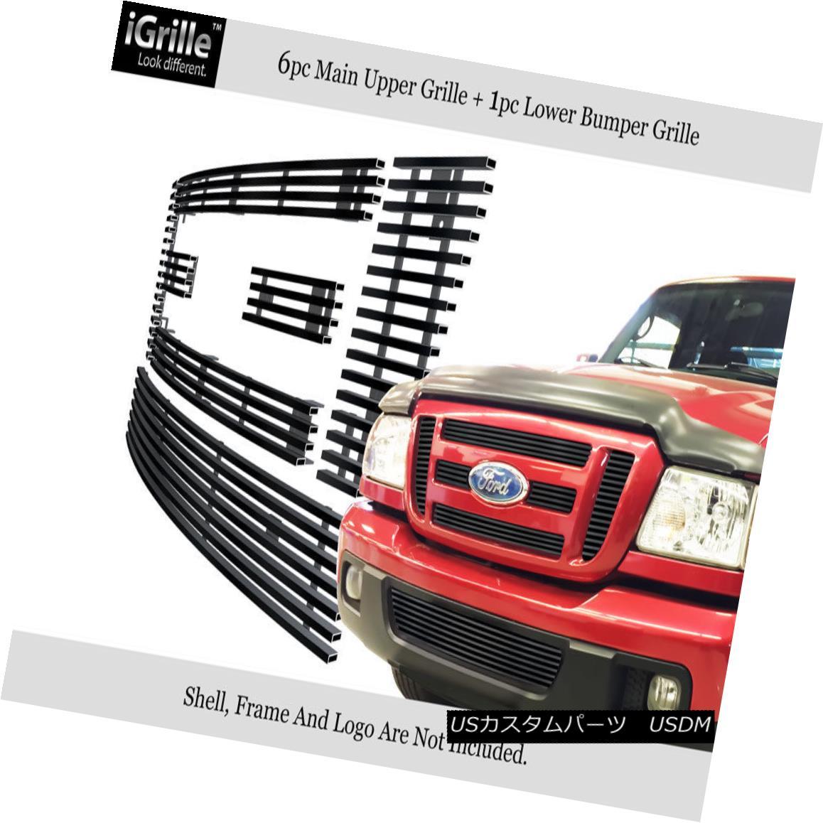 グリル Fits 2006-2011 Ford Ranger FX4/XL/XLT Stainless Steel Black Billet Grille Combo フィット2006年から2011年フォードレンジャーFX4 / XL / XLTステンレス鋼ブラックビレットグリルコンボ