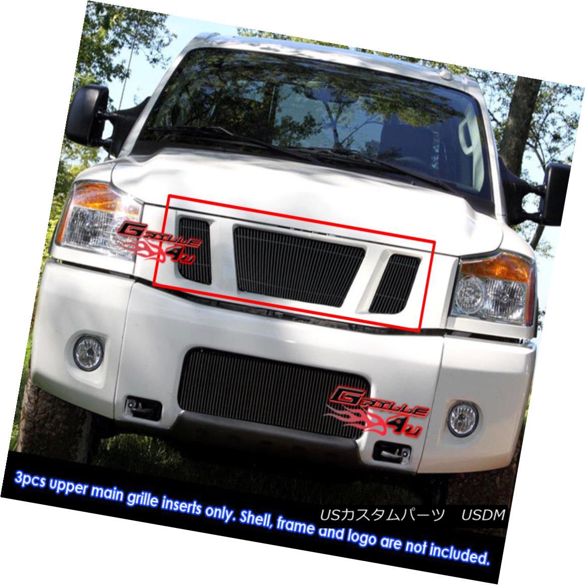 グリル Fits 2008-2015 Nissan Titan Black Vertical Billet Grille Insert フィット2008-2015日産タイタンブラック縦型ビレットグリルインサート