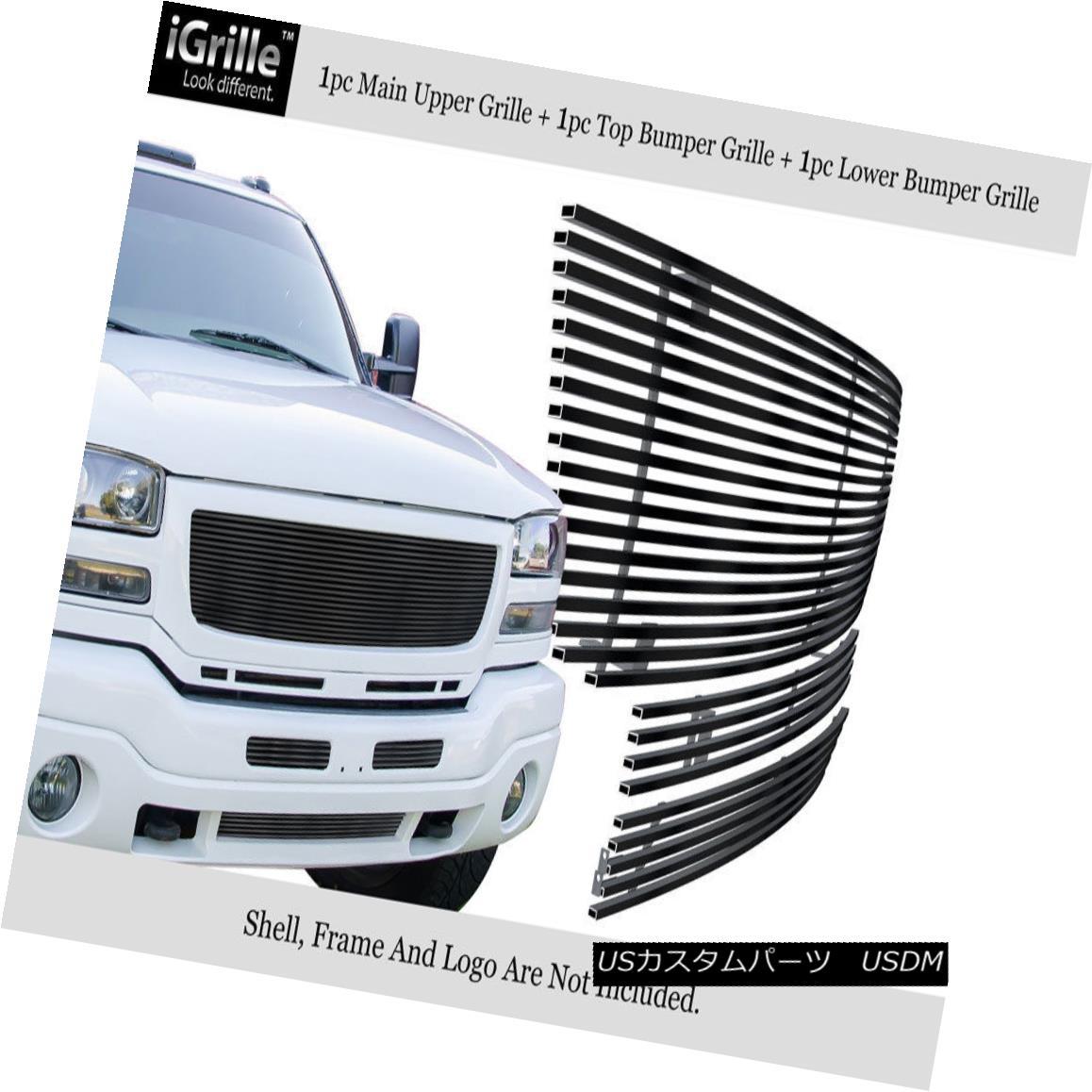 グリル For 2003-2006 GMC Sierra 1500/2500HD/3500 Stainless Black Billet Grille Combo 2003-2006 GMC Sierra 1500 / 2500HD / 35 00ステンレスブラックビレットグリルコンボ用