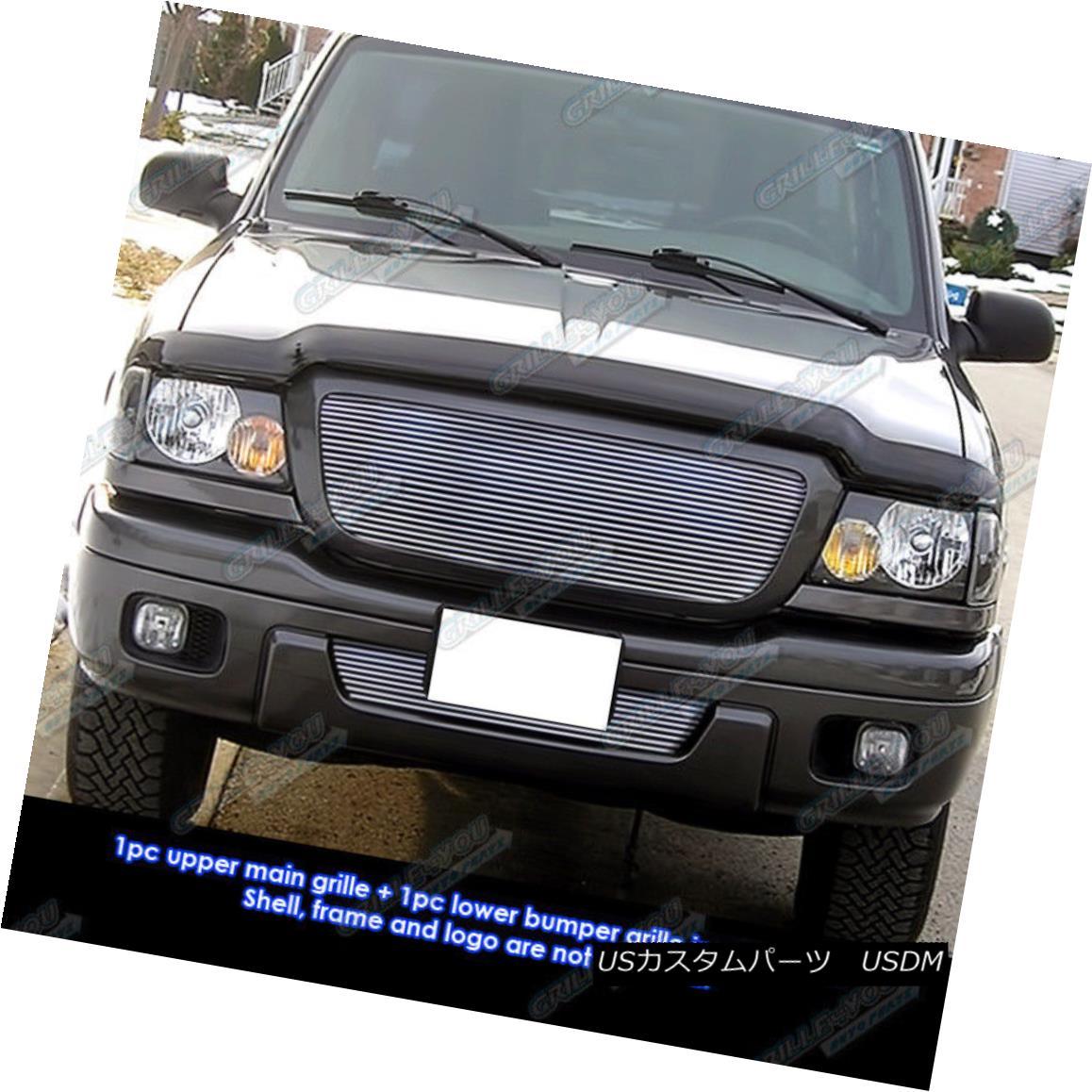 グリル Fits 2004-2005 Ford Ranger All Model Billet Grille Combo Insert フィット2004-2005フォードレンジャーすべてのモデルビレットグリルコンボインサート