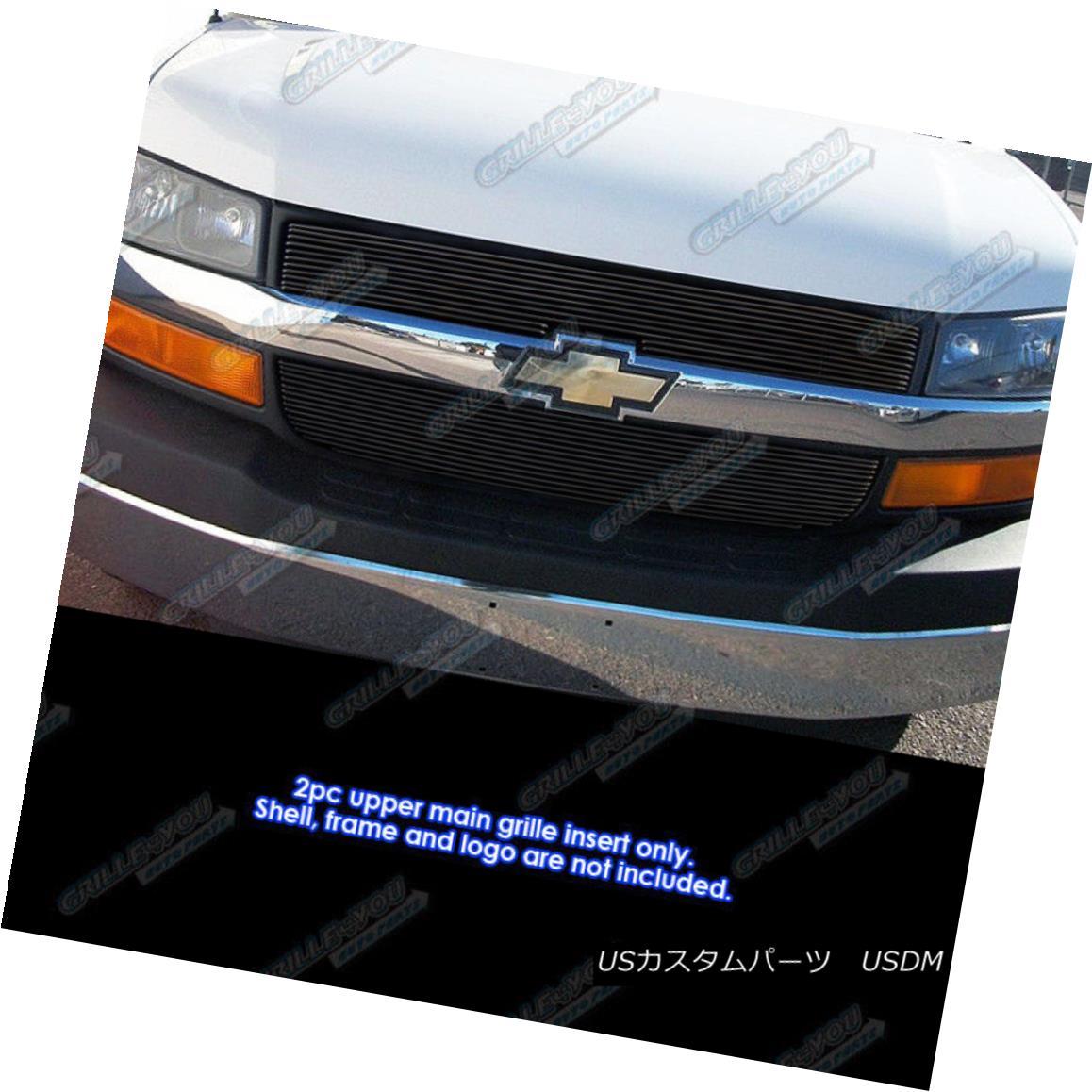 グリル Fits 2003-2016 Chevy Express Explorer Conversion Van Black Billet Grille 2003?2016年Chevy Expressエクスプローラコンバージョンヴァンブラックビレットグリル
