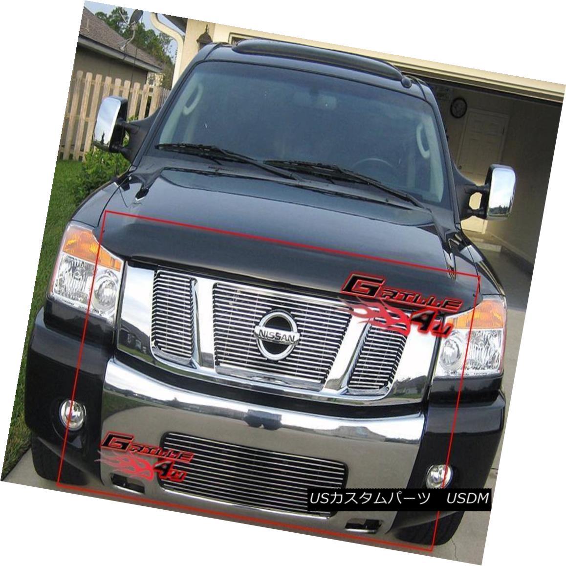 グリル Fits 2008-2015 Nissan Titan Billet Grille Grill Combo フィット2008-2015日産タイタンビレットグリルグリルコンボ