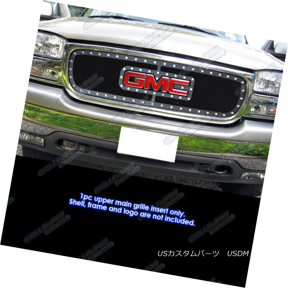 グリル For 1999-2000 GMC Sierra 1500 W/Logo Show Stainless Black Rivet Grille Inserts 1999-2000 GMC Sierra 1500 W / Logoショーステンレスブラックリベットグリルインサート