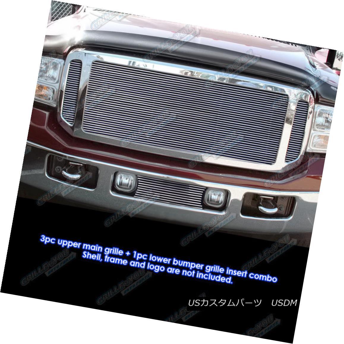 グリル Fits 05-07 Ford F-250/F-350/F-450/F-550 Billet Grille Combo フィット05-07 Ford F-250 / F-350 / F- 450 / F-550ビレットグリルコンボ