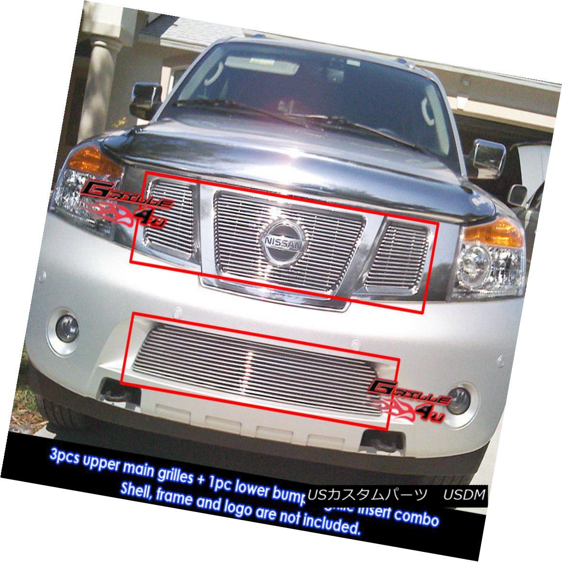 グリル Fits 2008-2014 Nissan Armada Billet Grille Grill Insert With Logo Show Combo フィット2008-2014日産アルマダビレットグリルグリルインサートロゴショーコンボ