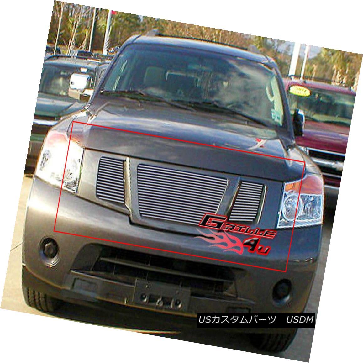 グリル Fits 2008-2015 Nissan Armada Main Upper Billet Grille Insert フィット2008-2015日産アルマダメインアッパービレットグリルインサート