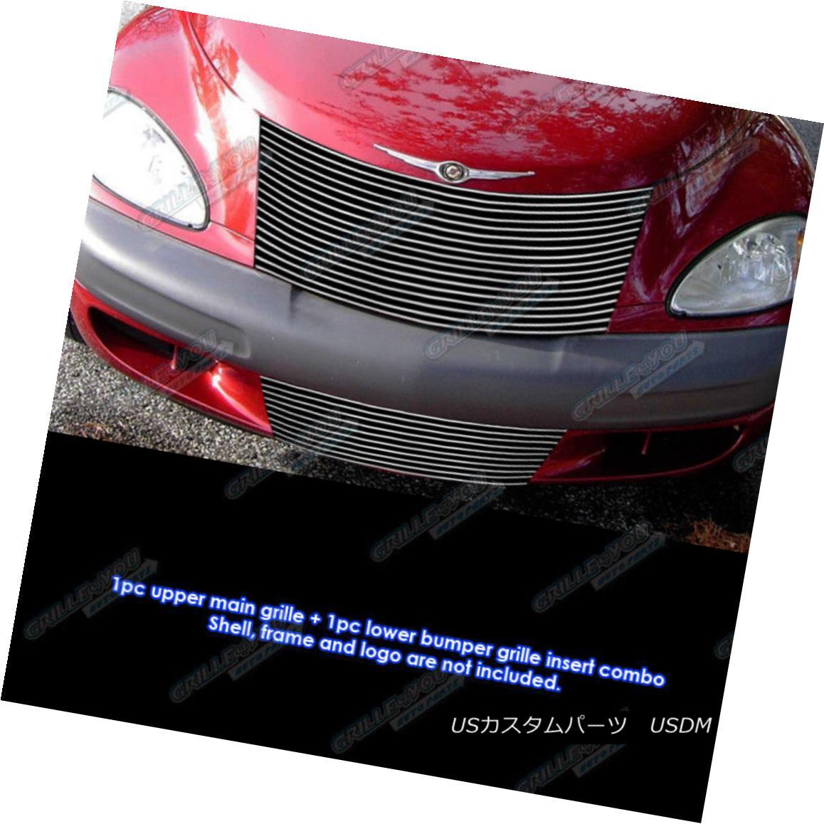 グリル Fits 2000-2005 Chrysler PT Cruiser Billet Grille Grill Combo Insert フィット2000-2005クライスラーPTクルーザービレットグリルグリルコンボインサート