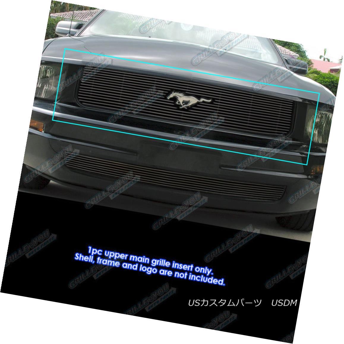 グリル Fits 2005-2009 Ford Mustang V6 With Logo Show Black Billet Grille Grill Insert 2005-2009 Ford Mustang V6とロゴショーを合わせるBlack Billet Grille Grill Insert