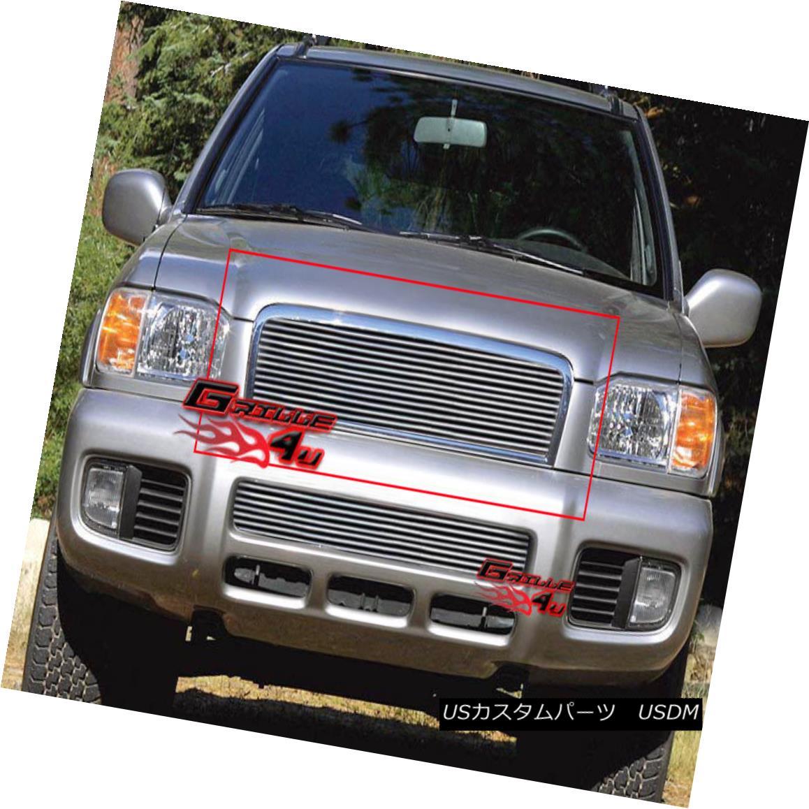 グリル Fits 2000-2001 Nissan Pathfinder Main Upper Billet Grille Grill Insert フィット2000-2001日産パスファインダーメインアッパービレットグリルグリルインサート