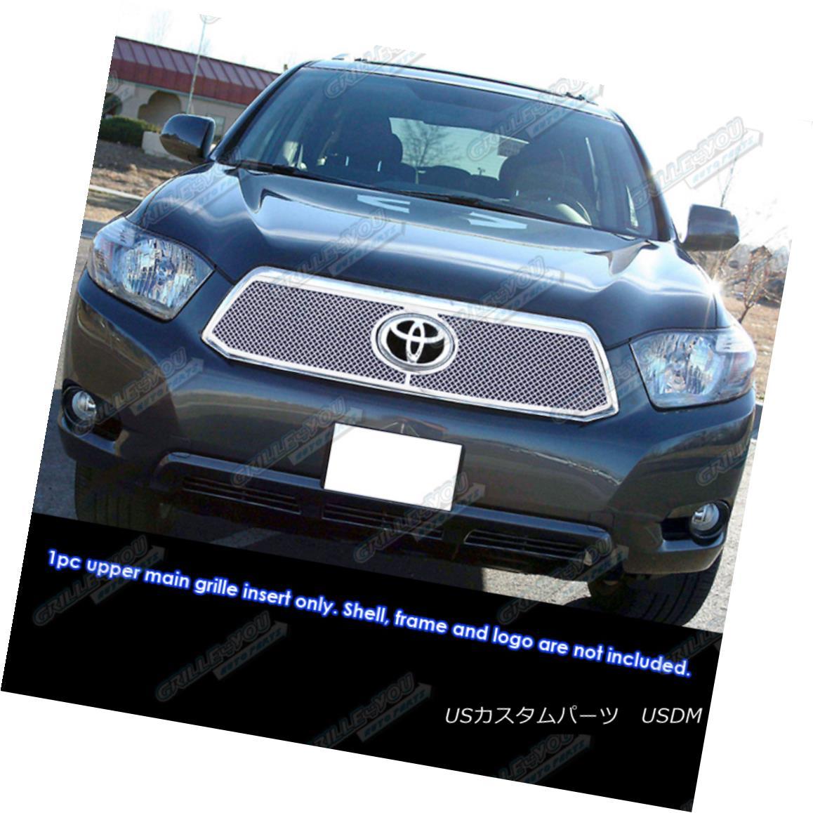 グリル Fits 2008-2010 Toyota Highlander Hybrid Stainless Mesh Grille フィット2008-2010トヨタハイランダーハイブリッドステンレスメッシュグリル