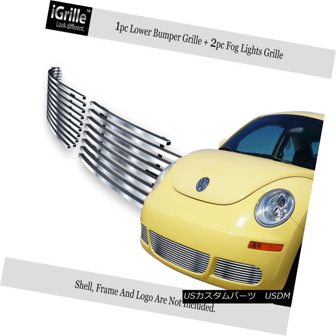 グリル Fits 06-11 2011 VW Volkswagen Beetle Bumper Stainless Steel Billet Grille フィット2011年6月11日VWフォルクスワーゲンビートルバンパーステンレス鋼ビレットグリル