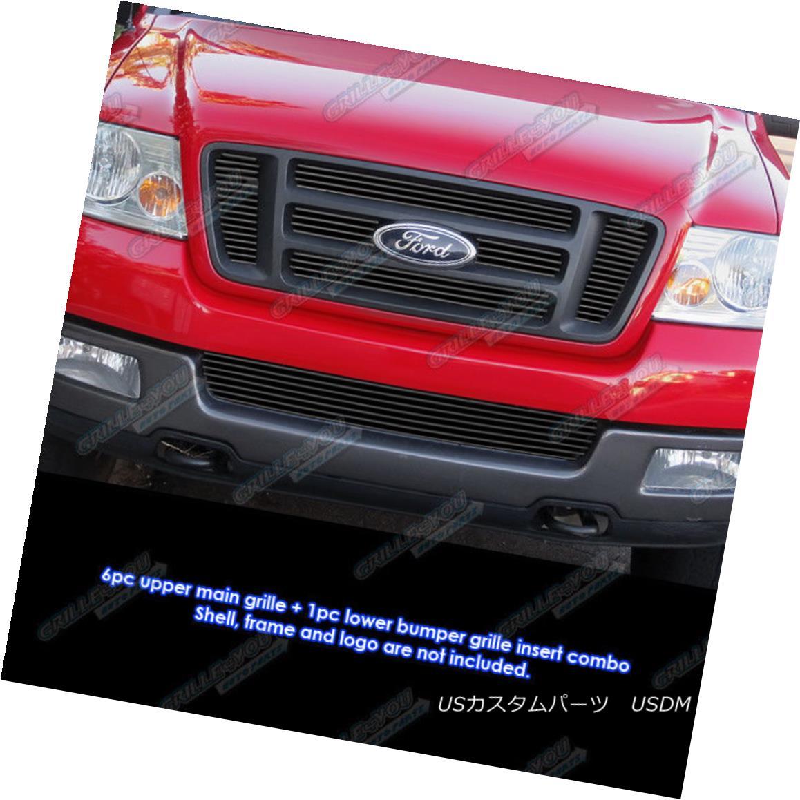 グリル Custom Fits 2004-2005 Ford F-150 Bar Style Black Billet Grill Combo カスタムフィット2004-2005フォードF - 150バースタイルブラックビレットグリルコンボ
