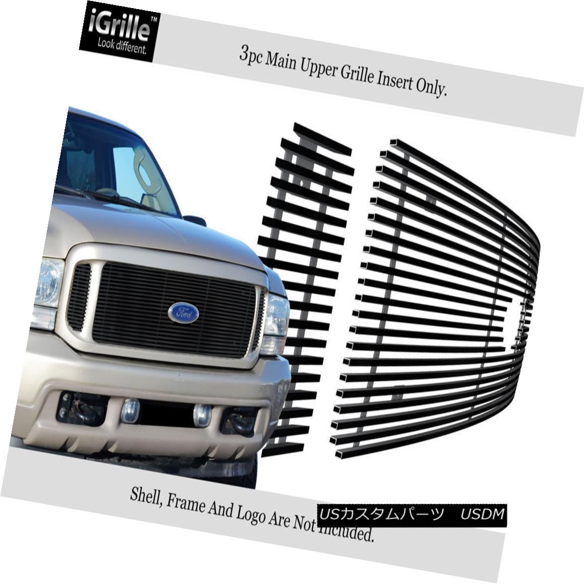 グリル For 99-04 Ford F250/F350/Excursion Black Stainless Steel Billet Grille 99-04 Ford F250 / F350 / Excu 用ブラックステンレス鋼ビレットグリル
