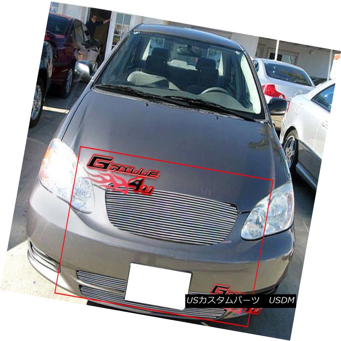グリル Fits 2003-2004 Toyota Corolla Billet Grille Combo フィット2003-2004トヨタカローラビレットグリルコンボ