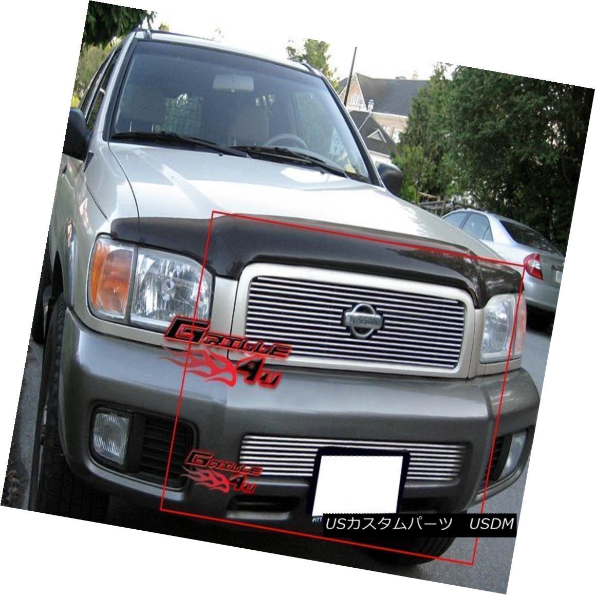 グリル Fits 00-01 Nissan Pathfinder Billet Grille Combo Upper+Lower フィット00-01日産パスファインダービレットグリルコンボアッパー+ロワー