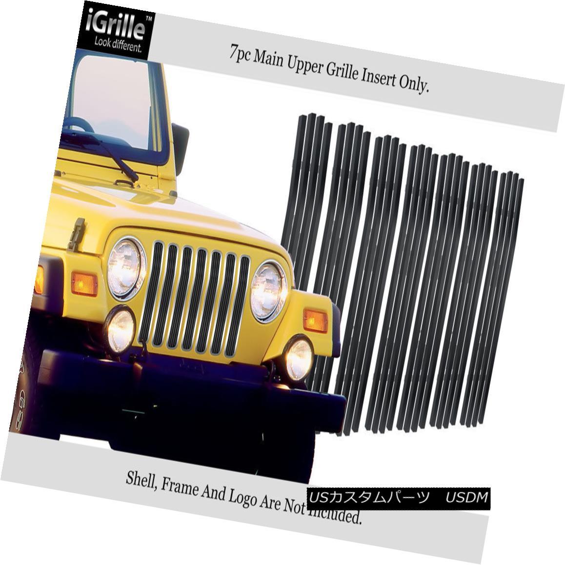 グリル Fits 97-06 Jeep Wrangler Vertical Black Stainless Steel Billet Grille Insert フィット97-06ジープラングラー垂直黒ステンレス鋼ビレットグリルインサート