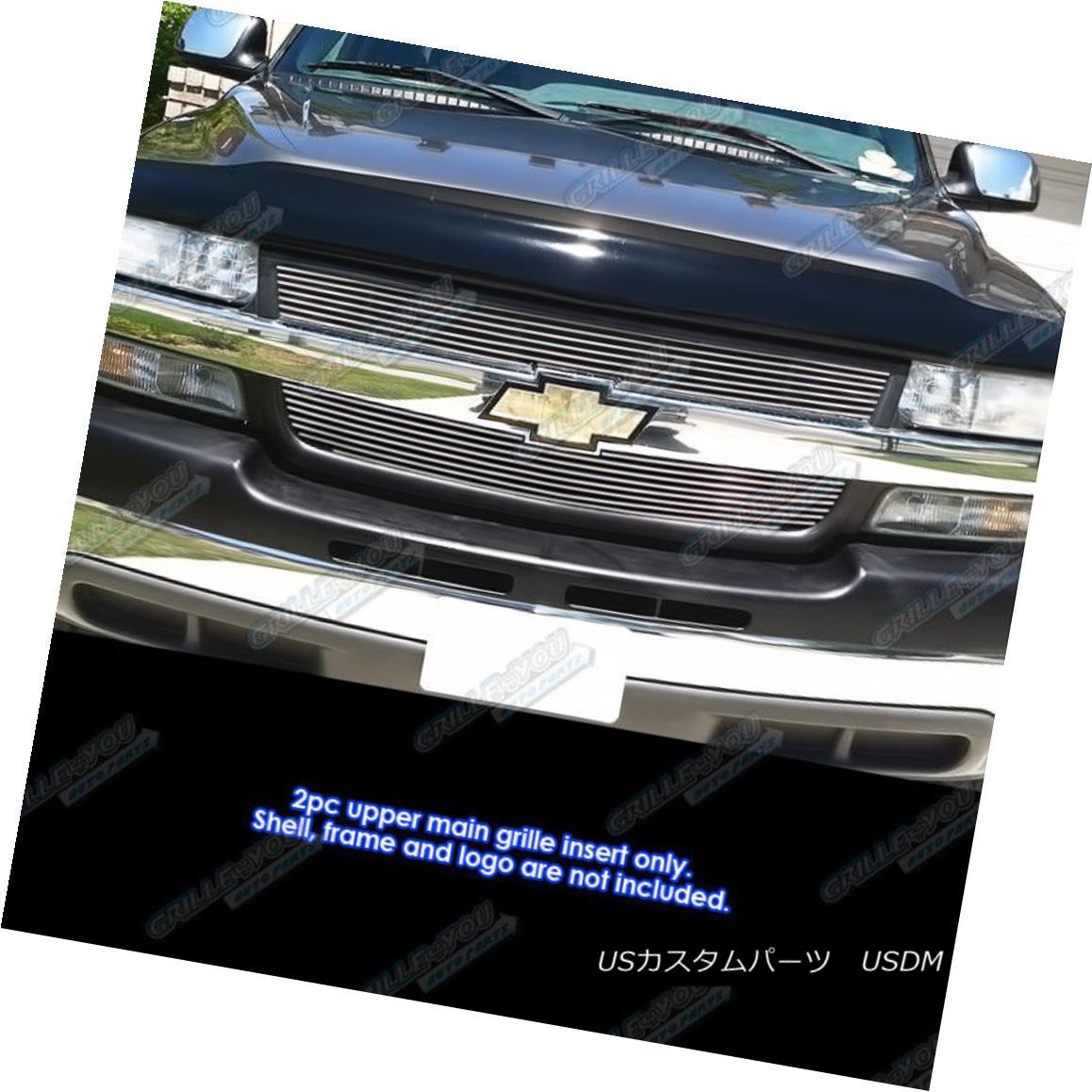 グリル Fits 01-02 Chevy Silverado 2500/3500 Main Upper Billet Grille Insert フィット01-02 Chevy Silverado 2500/3500メインアッパービレットグリルインサート