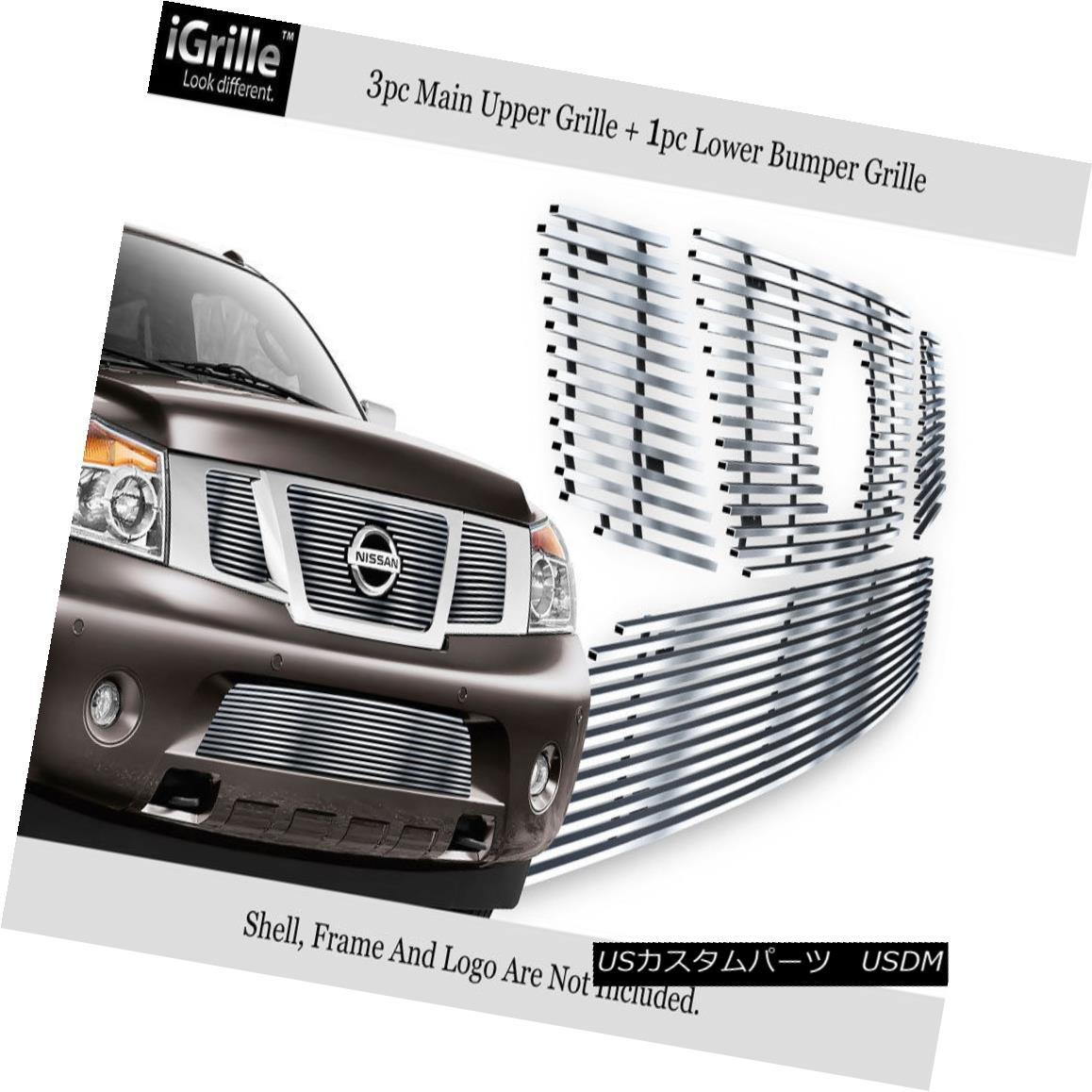 グリル Fits 2008-2014 Nissan Armada Billet Grille w/Logo Show Stainless Bilelt Grille フィット2008-2014日産アルマダビレットグリルロゴ付きステンレスビレットグリル