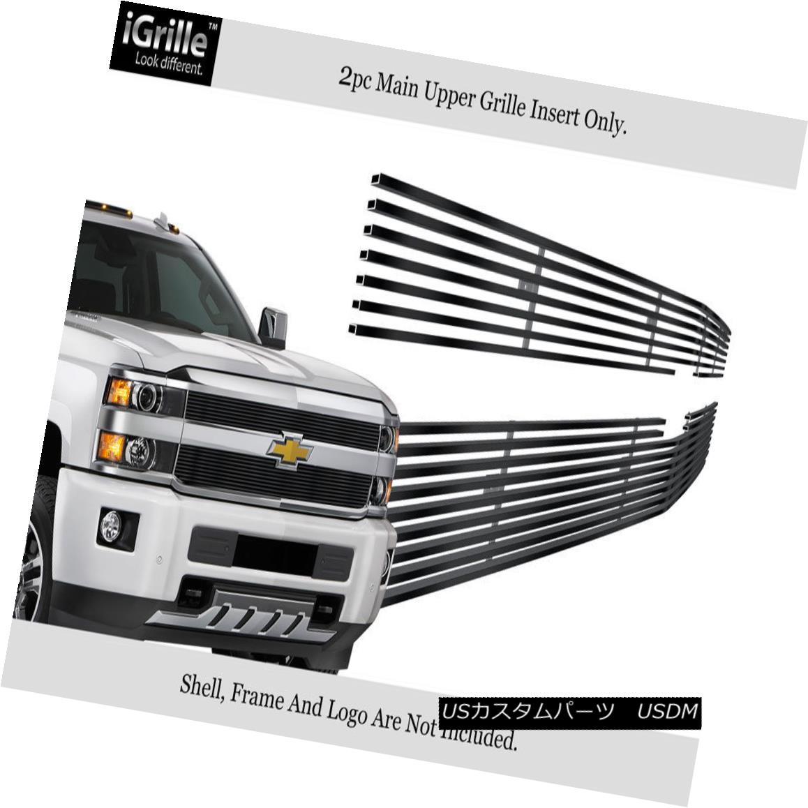 グリル For 2015-2018 Chevy Silverado 2500HD/3500 HD Stainless Black Billet Grille 2015-2018 Chevy Silverado 2500HD / 3500 HDステンレスブラックビレットグリル