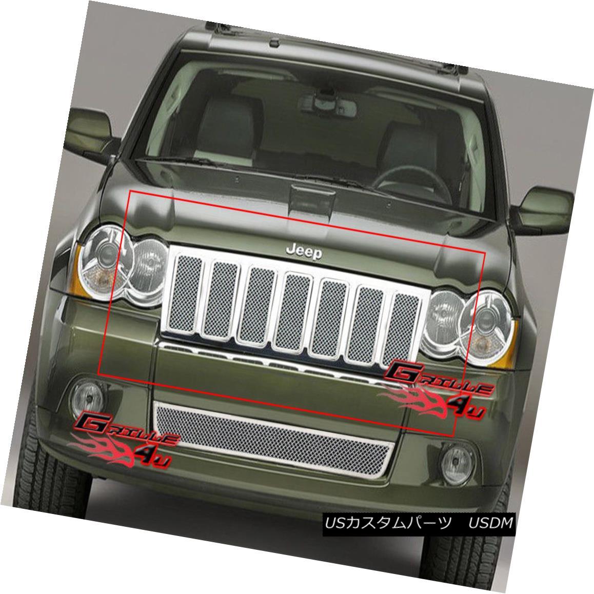 グリル Fits 09-10 Jeep Grand Cherokee Stainless Mesh Grille フィット09-10ジープグランドチェロキーステンレスメッシュグリル