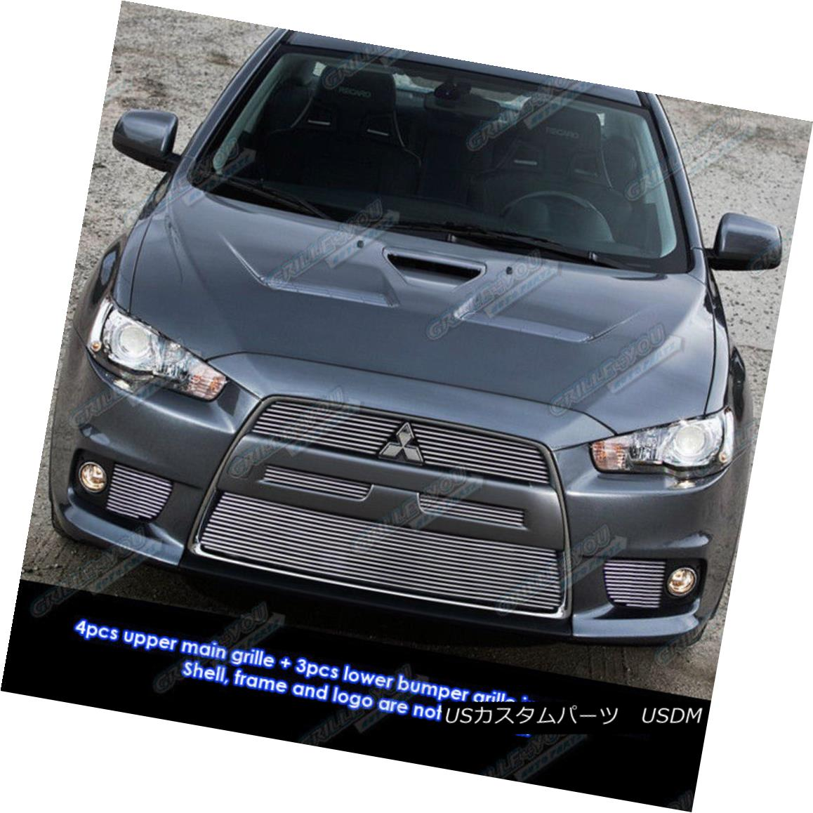 グリル Fits 2008-2014 Mitsubishi Lancer Evolution Billet Grille Grill Insert Combo フィット2008-2014三菱ランサーエボリューションビレットグリルグリルインサートコンボ