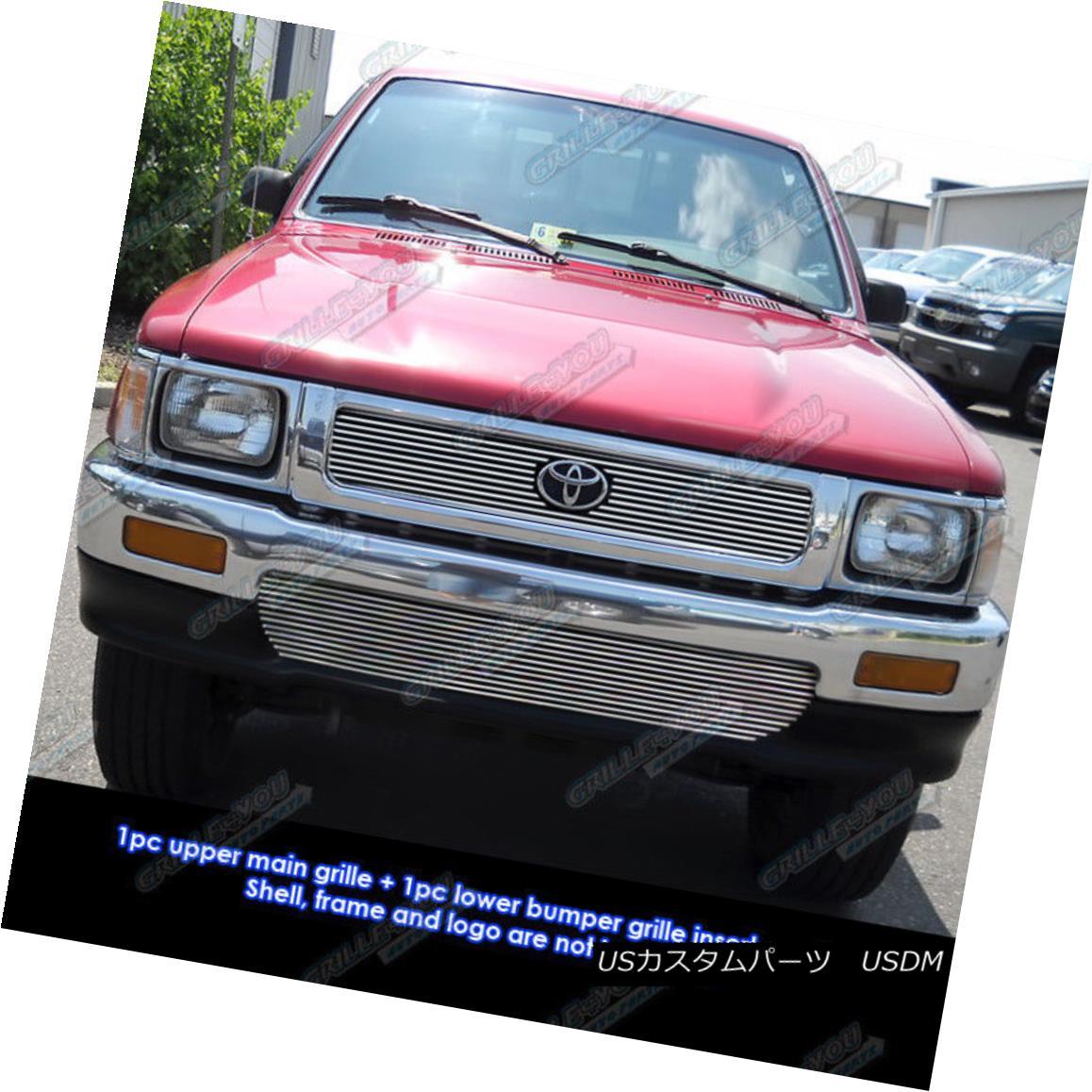 グリル Fits 1992-1995 Toyota Pickup Truck 4WD Billet Grille Combo フィット1992-1995トヨタピックアップトラック4WDビレットグリルコンボ