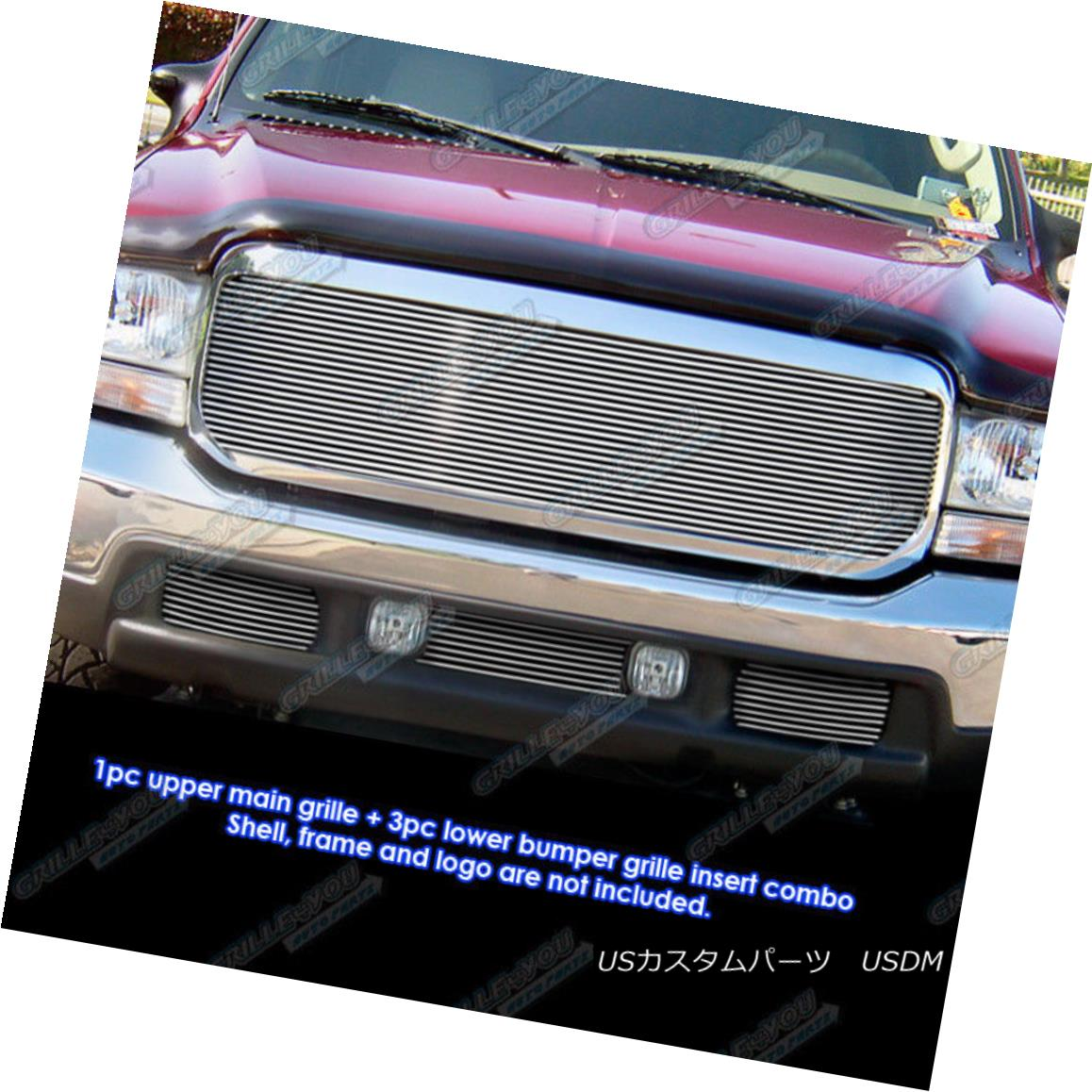 グリル Fits 1999-2004 Ford F-250/F-350 Super Duty Billet Grille Combo 1999-2004 Ford F-250 / F-350 Super Duty Billet Grille Comboに適合