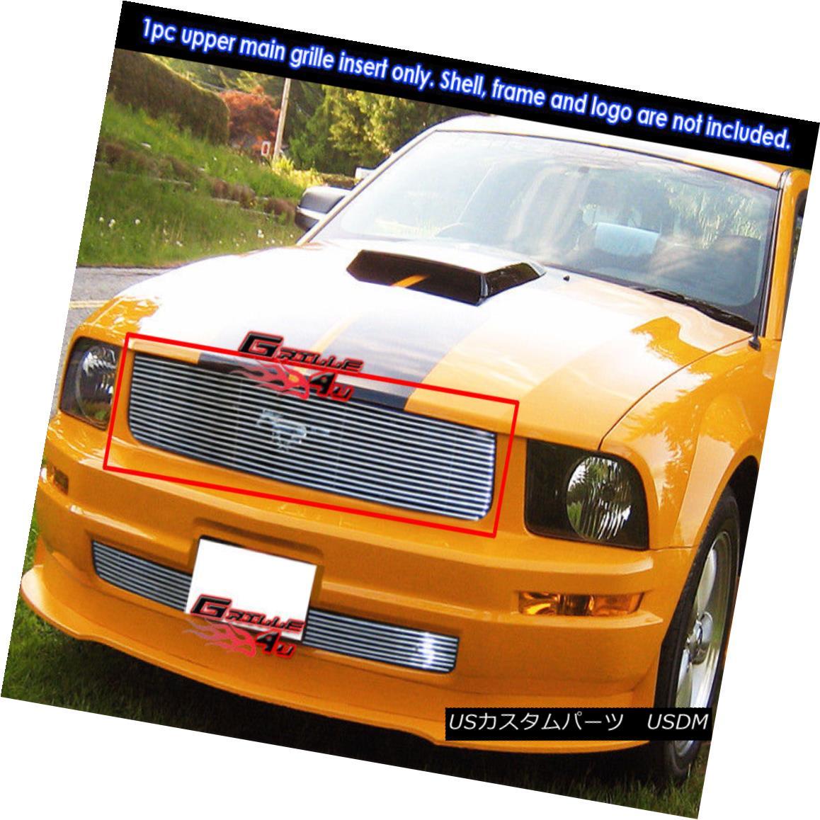 グリル Fits 05-09 Ford Mustang V6 Stainless Steel Billet Grille Insert フィット05-09フォードマスタングV6ステンレス鋼ビレットグリルインサート