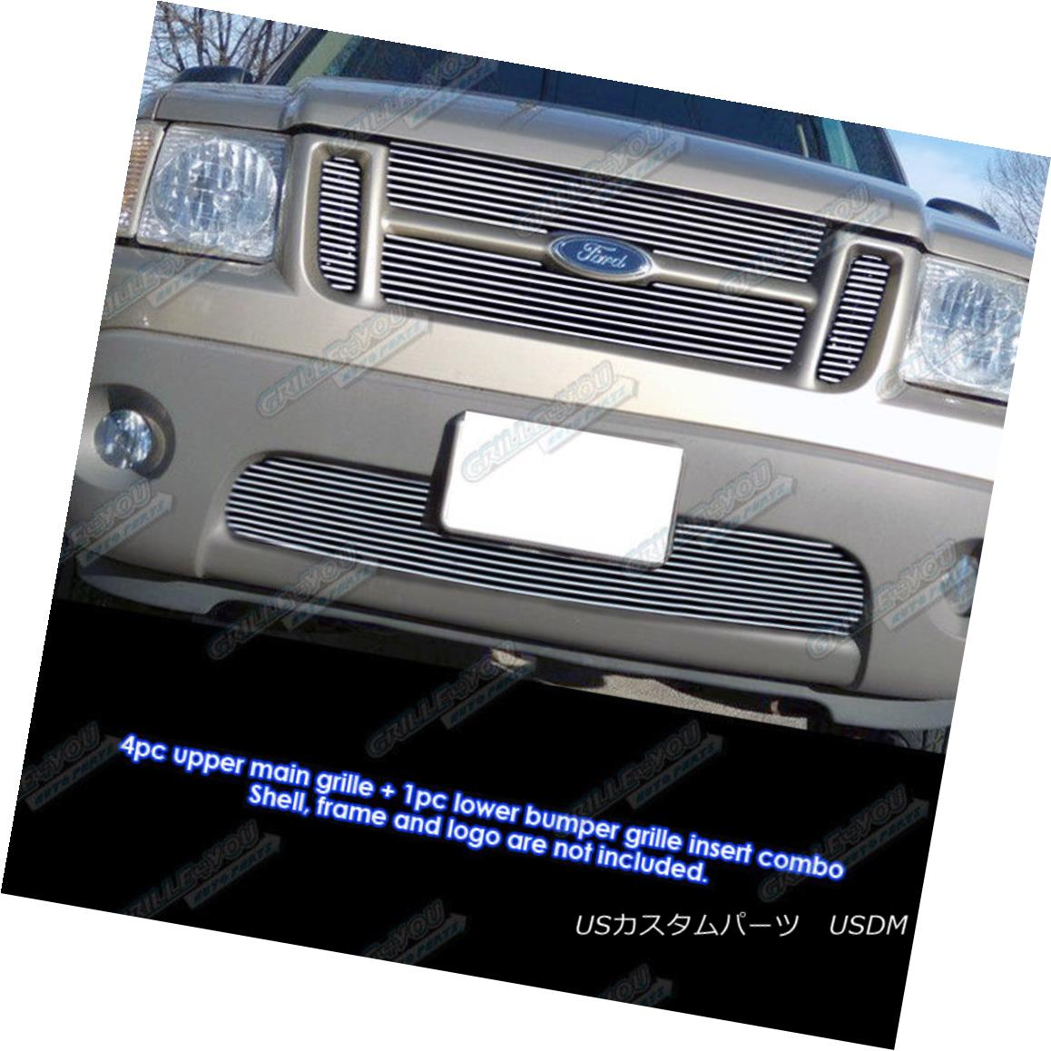 グリル Fits 2001-2005 Ford Explorer Sport Trac Billet Grille Combo フィット2001-2005フォードエクスプローラースポーツTracビレットグリルコンボ