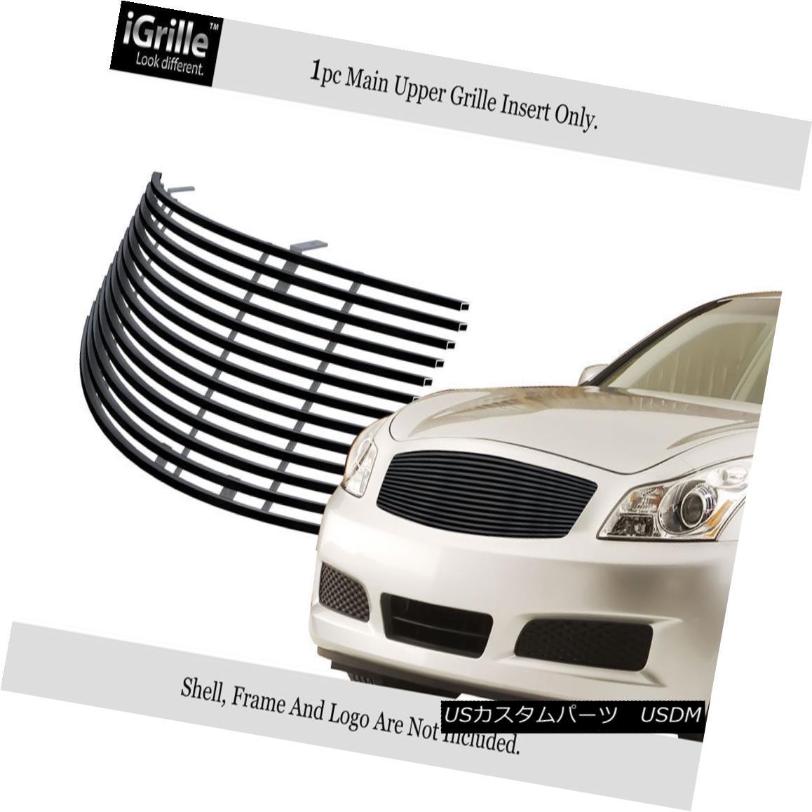 グリル Fits 2007-2008 Infiniti G35 Sedan Stainless Steel Black Billet Grille Insert フィット2007-2008インフィニティG35セダンステンレス鋼ブラックビレットグリルインサート