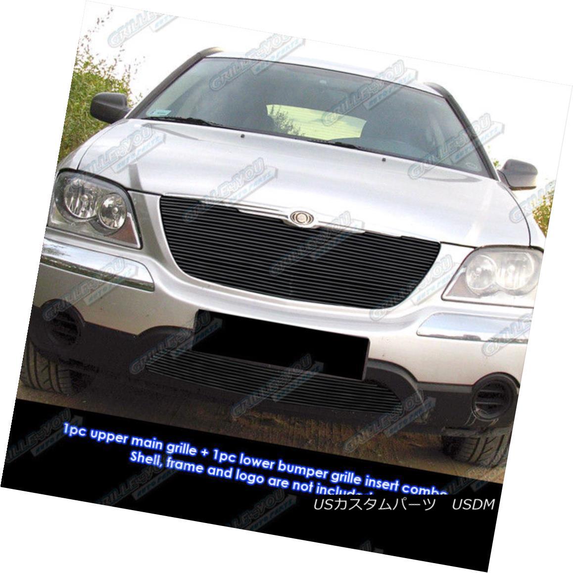 グリル Fits 2004-2006 Chrysler Pacifica Black Billet Grille Combo フィット2004-2006クライスラーパシフィカブラックビレットグリルコンボ