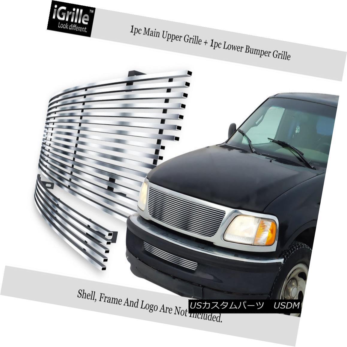 グリル Fits 1997-1998 Ford F-150 2WD Billet Grille Stainless Billet Grille Combo フィット1997-1998フォードF-150 2WDビレットグリルステンレスビレットグリルコンボ