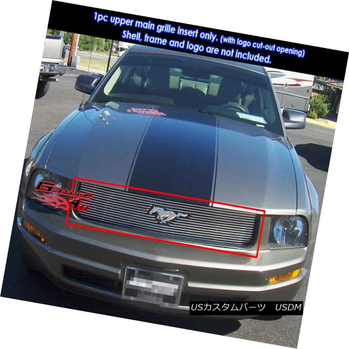 グリル Fits 2005-2009 Ford Mustang V6 Main Upper Billet Grille Insert フィット2005-2009フォードマスタングV6メインアッパービレットグリルインサート