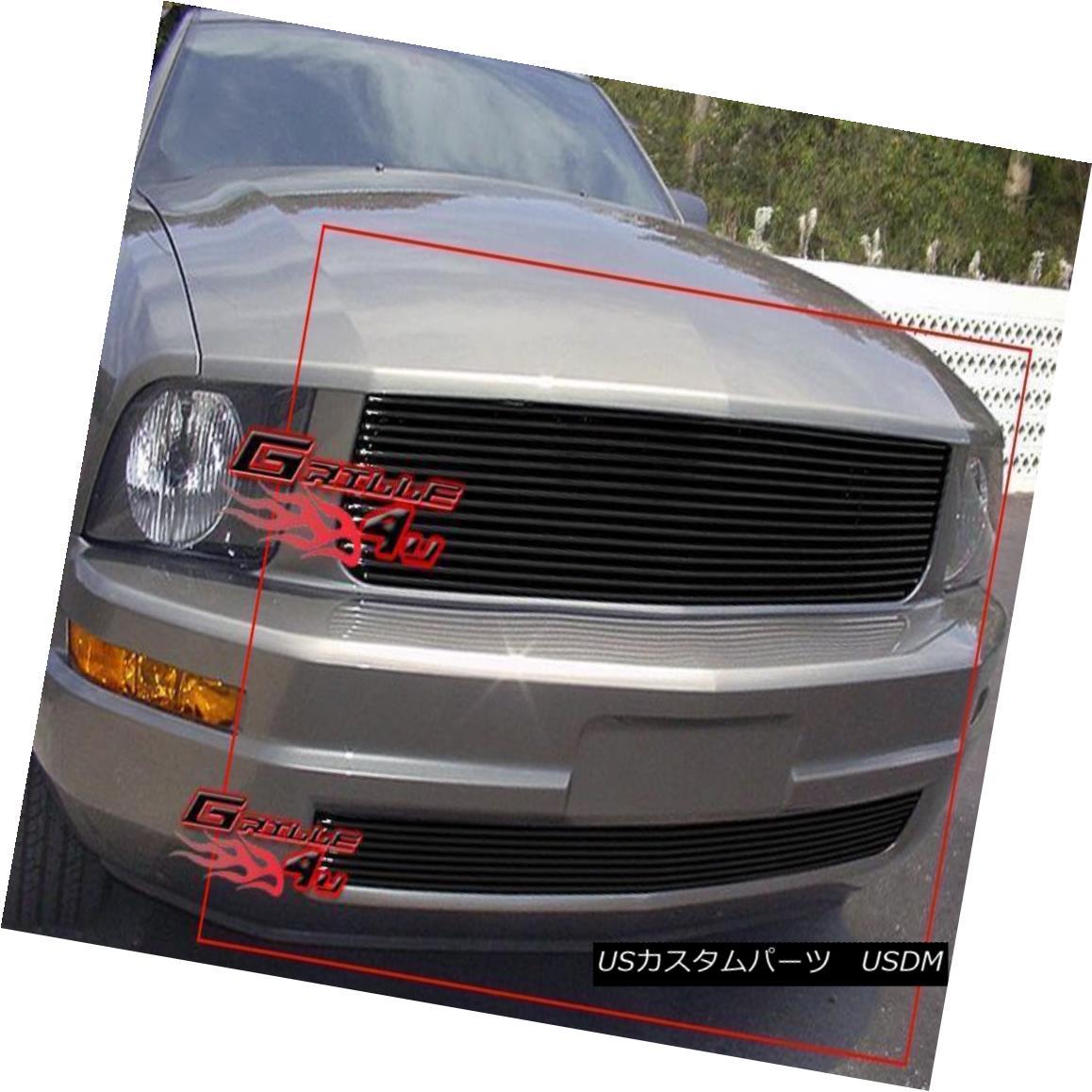 グリル Fits 2005-2009 Ford Mustang V6 Black Billet Grille Combo フィット2005-2009フォードマスタングV6ブラックビレットグリルコンボ