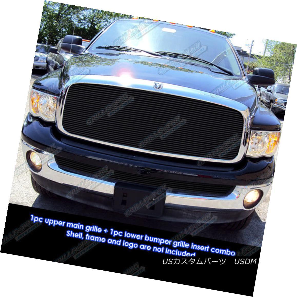 グリル Fits 02-05 Dodge Ram Regular Model Black Billet Grille Insert Combo フィット02-05ダッジラムレギュラーモデルブラックビレットグリルインサートコンボ
